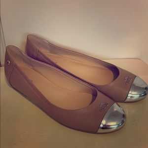 Tan and Silver Coach Chelsea Flats